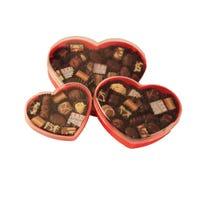Tres caja Corazón de acrílico rojo conteniendo en total 450 gramos de bombones finos Felfort